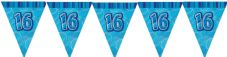 Blue Glitz '16th' Birthday Flag Banner